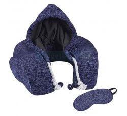 כרית נסיעות לצוואר עם ריפוד בצורת כובע קפוצ'ון וכיסוי עיניים