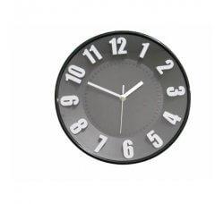 """שעון קיר אנלוגי עם ספרות בולטות 30 ס""""מ - שחור"""
